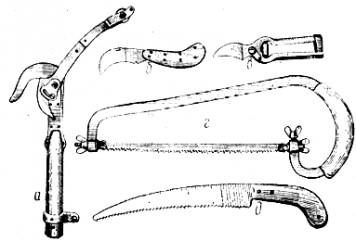 Садовые инструменты, применяемые при обрезке плодовых деревьев.
