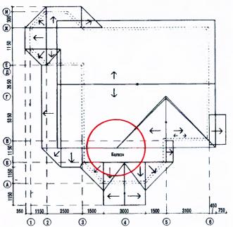 Рис.2 Фасады коттеджа и план кровли